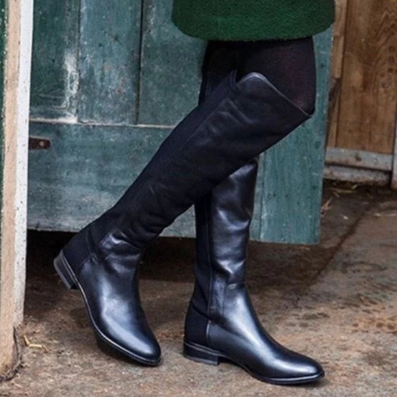 38c2256b641 Clarks Caddy Belle Black Leather Riding Boots